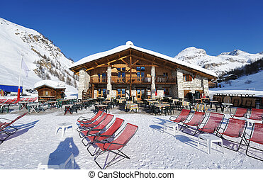 Mountain ski resort with snow in winter, Val-d'Isere, Alps,...