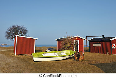 Wood houses of camping in Sweden