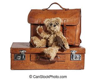 Well-Traveled, vendimia, maleta, teddy, oso