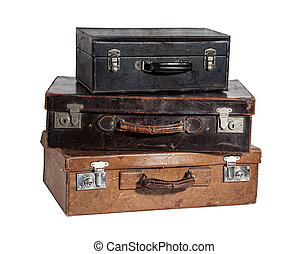Suitcases - stack of three antique suitcases isolated on...