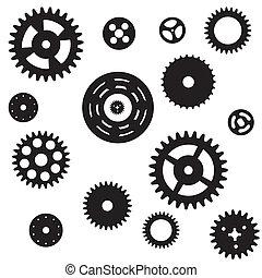 maskin, drev, hjul, kugghjul, seamless, mönster,...