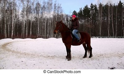 Woman sit on horse back in forest - Young woman sit on horse...