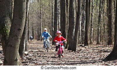 sister and brother ride their bicycles at park