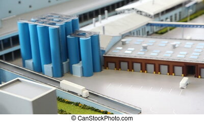 maquette transport area of dairy factory on table, panorama...