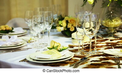 empty glasses on table beautiful decorated in restaurant,...
