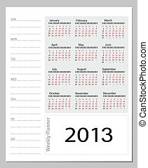 Simple 2013 calendar. All elements are layered separately in...