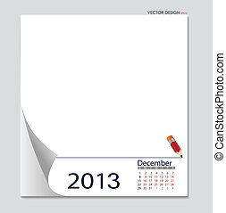 Simple 2012 calendar, December All elements are layered...