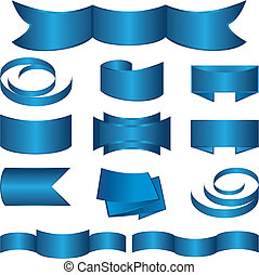Set of blue Ribbon and Stickers. Vector illustration.