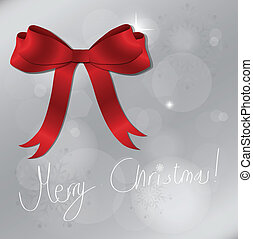 Light silver abstract Christmas background with Shiny red satin ribbon, vector illustration.
