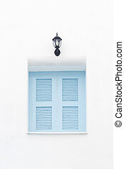 Sky blue window on white