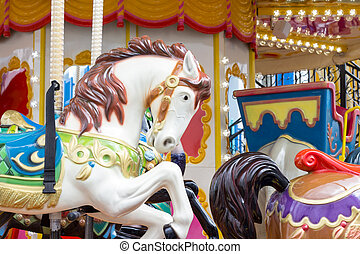 Horses on a carnival Merry Go Round
