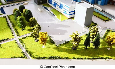 maquette planting area of dairy factory on table, panorama...