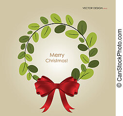 Abstract Christmas background with Christmas wreath, vector...