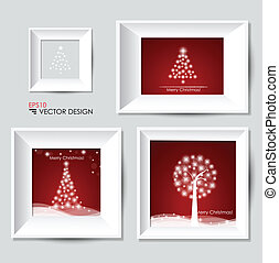 Christmas tree and White modern frames on the wall, vector illustration.