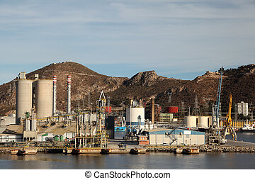 Industrial port at an oil refinery