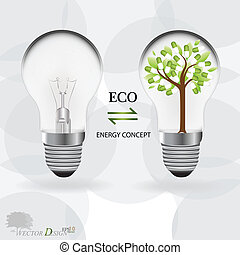 Abstract tree in a light bulb with medical pill. Vector illustration.
