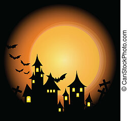Halloween-themed Design: Halloween background with haunted...
