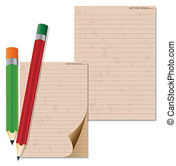 Pencil and vintage paper, ready for your message. Vector illustration.