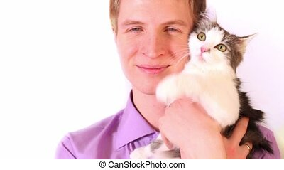 Young boy hold cat on hand, isolated on white background