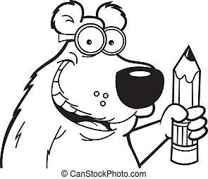 Cartoon Bear with a Pencil (Black a