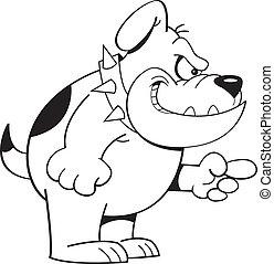 Cartoon Angry Bulldog (Black and Wh