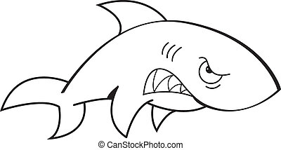 Cartoon Angry Shark Black and Whit - Black and white...