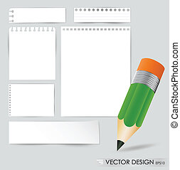 Pencil and white paper, ready for your message. Vector illustration.