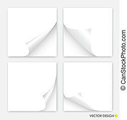 Collection of curled corners white papers, Vector...