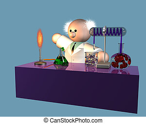 Scientist experiment - 3d artwork of a mad professor...