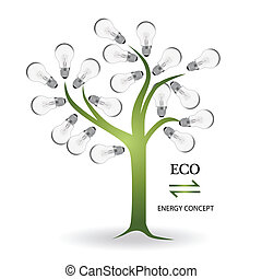 Tree made of light bulbs. Vector Illustration.