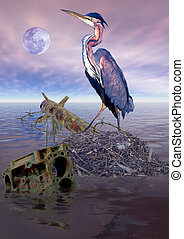 Heron War - A heron has just rebuilt its nest in the...