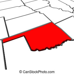 Oklahoma Red Abstract 3D State Map United States America - A...
