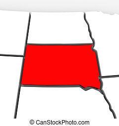 South Dakota Red Abstract 3D State Map United States America