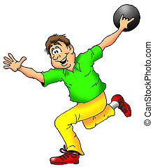 The Bowler - Cartoon Illustration of a Man Throwing a...
