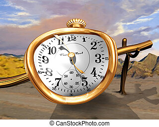 Melting Watch - A gold pocket watch bent over a wooden pole