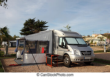 Motorhome on a camping site in Spain