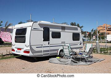 Caravan on a camping site in Spain