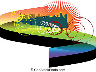 abstract city with rainbow