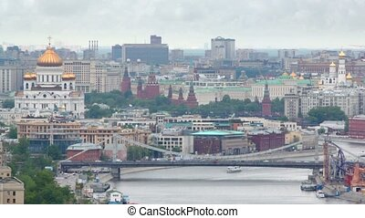 Krymsky bridge stands in front of Kremlin and Temple of...