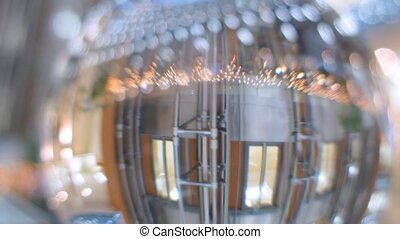 In glass ball is reflected business center hall closeup,...