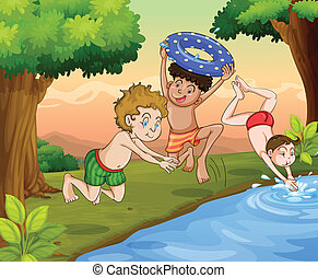 kids swimming - illustration of kids swimming outdoor in...
