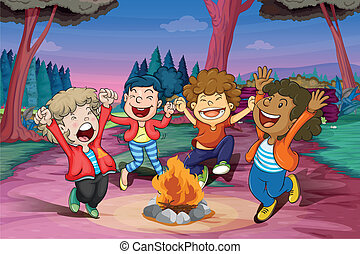 fire camp of kids - illustration of fire camp of kids in...