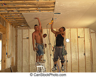 One Hand Hold - Holding up the sheetrock with one hand