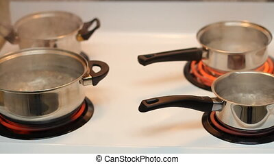 Pots full of boiling water