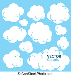 Cartoon Clouds - Collection of vector cloud designs. Clouds...