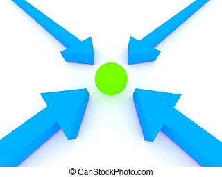 Arrows pionting a ball Rendered image