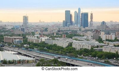 Business center Moscow of City stands against city landscape...