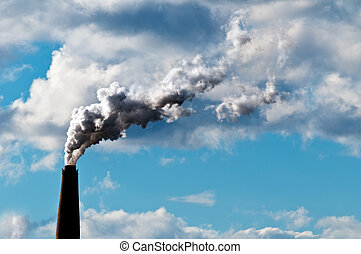 Chimney exhaust waste amount of CO2 into the atmosphere on a...