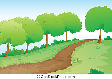 a road in nature - detailed illustration of a road in green...