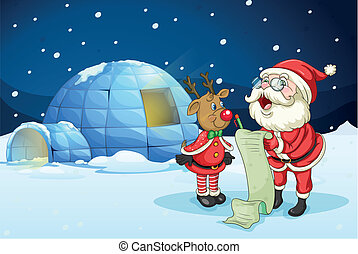 santa claus and reindeer - llustration of santa claus and...